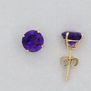 Jewelry - Natural Amethyst Earrings Solid 10kt Yellow Gold